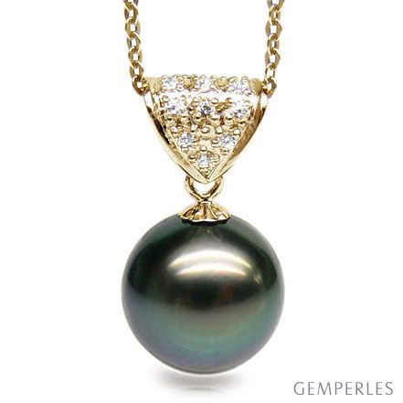 Ciondolo Classico - Oro Giallo, Diamanti e Perla Tahiti