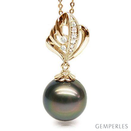 Pendentif création végétale - Perle de Tahiti - Or jaune, diamants