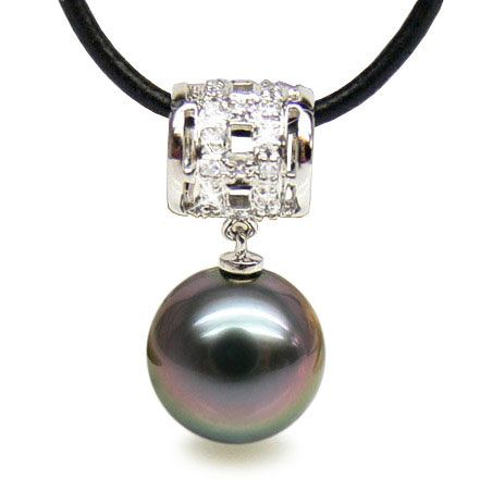 Pendentif bélière circulaire - Perle de Tahiti - Or blanc, diamants