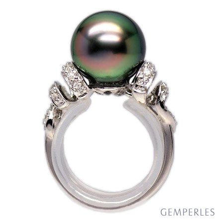 Bague or blanc stylée 2 époques - Perle Tahiti émeraude rosée, Diamants