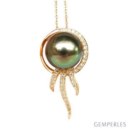 Ciondolo Thetis - Oro Giallo, Diamanti e Perla Tahiti