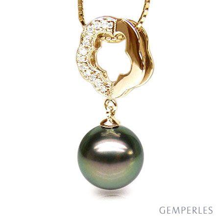 Ciondolo Fiore Culebra - Oro Giallo, Diamanti e Perla Tahiti