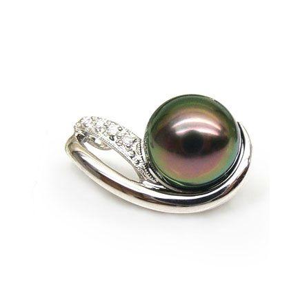 Pendentif perle de Tahiti noire - Orient paon - Or blanc, diamants