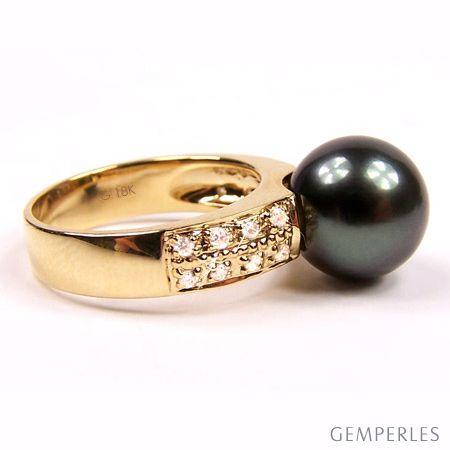 Anello Classico - Oro Giallo, Diamanti e Perla di Tahiti - 2