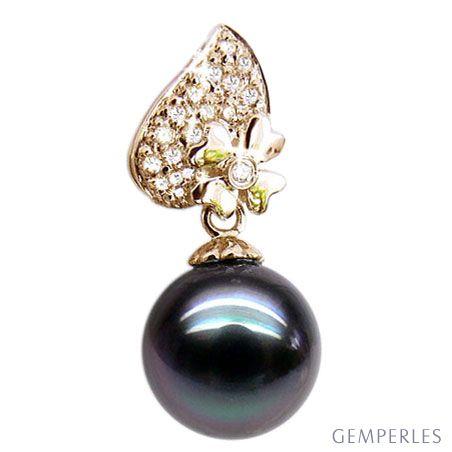 Ciondolo quadrifoglio oro giallo - Perla di Tahiti nera, blu - 10/11mm