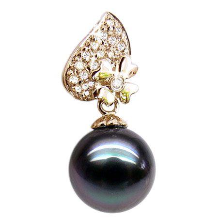 Pendentif fleur d'églantine - Perle de Tahiti - Or jaune, diamants