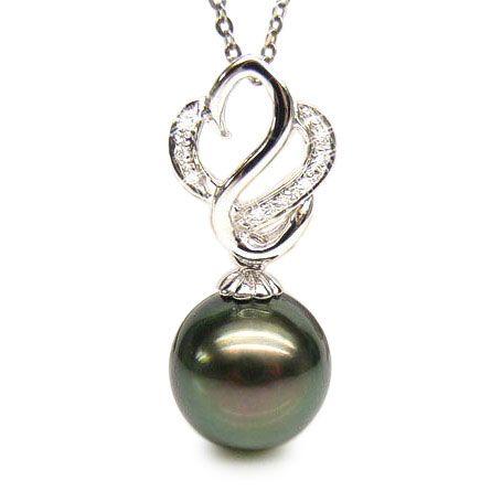 Pendentif séduction cygne - Perle de Tahiti - Or blanc, diamants