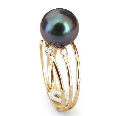 Bague 3 anneaux liés - Perle de Tahiti - Or jaune, diamants