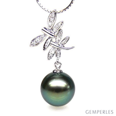 Pendentif libellules - Couple volant - Perle Tahiti, or blanc, diamants