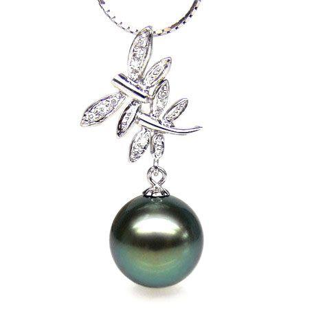 Pendentif libellules - Couple volant - Perle Tahiti, or blanc, diamants