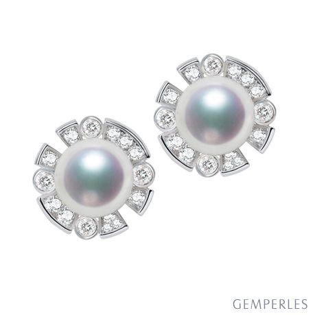 Orecchini Kenshi - Oro Bianco, Diamanti & Perle Akoya