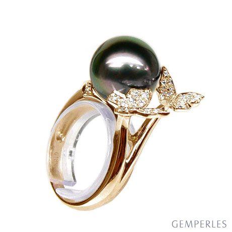 Anello Farfalla Pirae - Oro Giallo, Diamanti e Perla di Tahiti