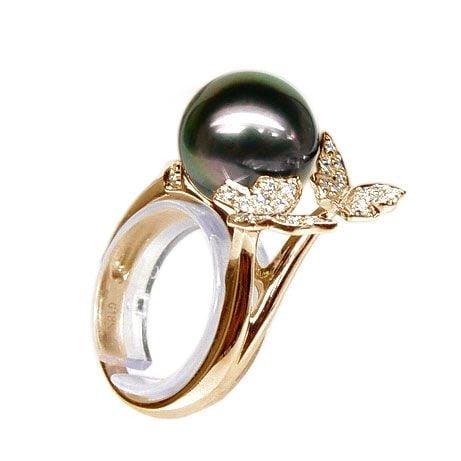 Bague papillons gracieux - Perle de Tahiti - Or jaune, diamants
