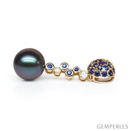 Ciondolo Madeleine - Oro Giallo 18kt, Zaffiri e Perla di Tahiti