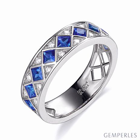 Bague saphir Dame de carreau -  Or blanc, diamant