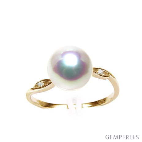 Bague or jaune - Perle Akoya blanche Japon - Diamants sertis rails