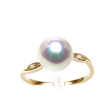 Bague or jaune - Perle Akoya blanche Japon - Diamants sertis rails