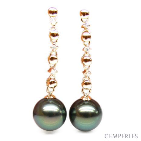 Boucles oreilles chainettes - Perles de Tahiti - or jaune, diamants