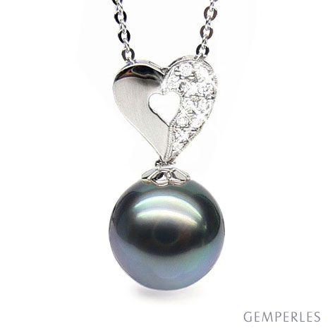 Pendentif en forme de coeur - Perle de Tahiti - Or blanc, diamants