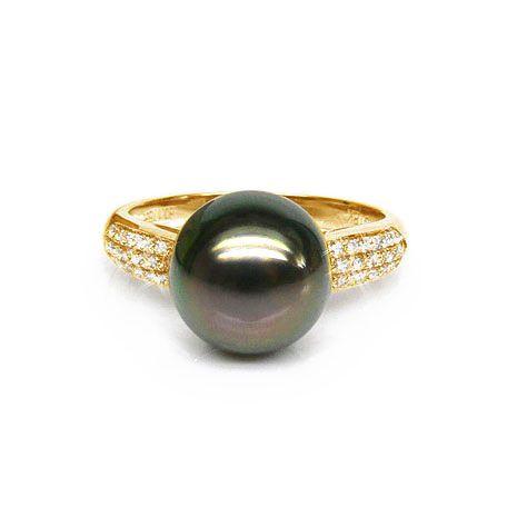 Bague solitaire perle de Tahiti - Or jaune, diamants