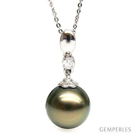 Ciondolo Hydra - Oro Bianco, Diamante e Perla di Tahiti Nera