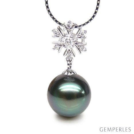 Pendentif flocon de neige - Perle de Tahiti bleue - Or blanc, diamants