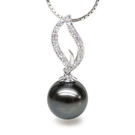 Pendentif flamme - Passion - Perle de Tahiti, or blanc, diamants