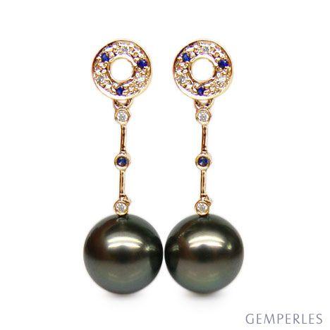 Orecchini Catenelle Quirimbas - Perle di Tahiti, Oro Giallo