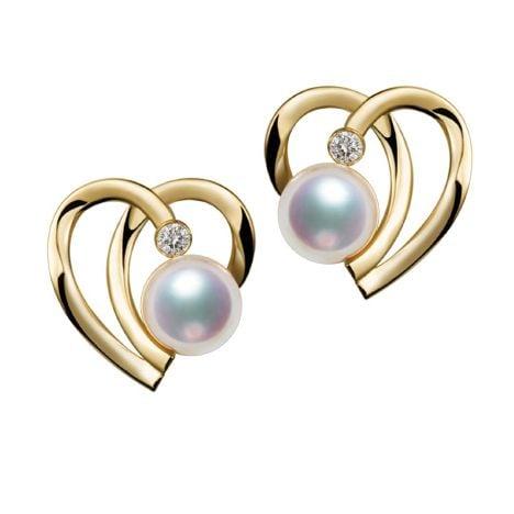 Boucles Coeur contemporain Or jaune. Perles Akoya, Diamants.
