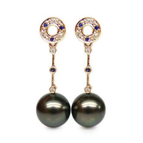 Boucles oreilles - Perles de Tahiti noires - Or jaune, diamants, saphirs
