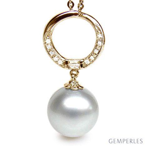 Ciondolo anello oro giallo, diamanti - Perla d'Australia bianca - 13/14mm