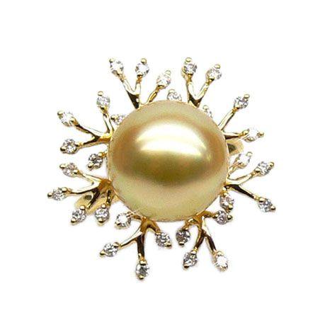 Bague luxe - Branche corail - Perle d'Australie, or jaune, diamants
