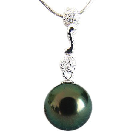 Pendentif Andros - Perle de Tahiti - Or blanc, diamants
