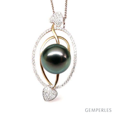 Pendentif 2 coeurs flamboyants - Perle de Tahiti - 2 ors, diamants