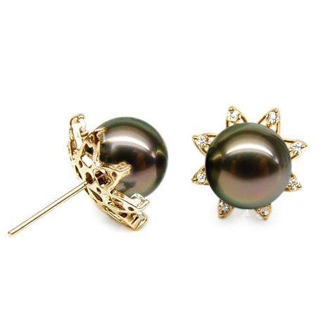 Boucles oreilles perles de Tahiti noires, 10/10.5mm, GEMME