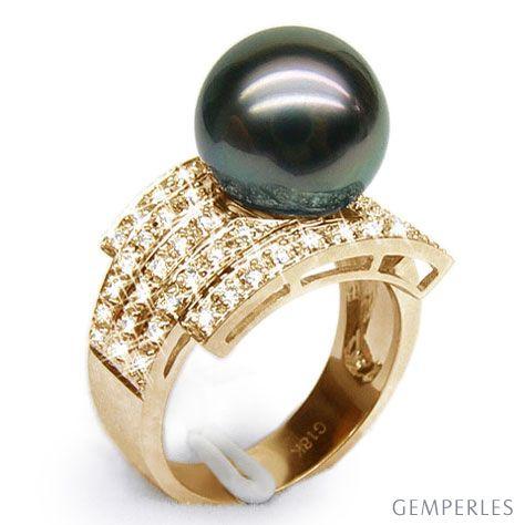 Anello Santiago - Oro Giallo, Diamanti e Perla di Tahiti