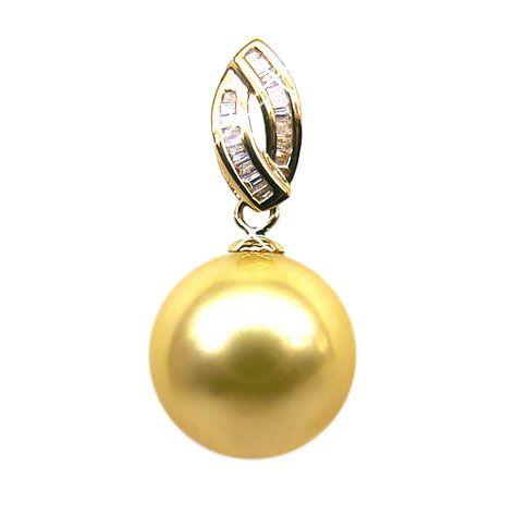 Pendentif grosse perle d'Australie dorée - Or jaune 18 cts, diamants