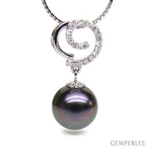 Pendentif joaillerie - Perle Tahiti paon aubergine - Or blanc, diamants
