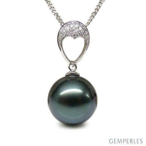 Ciondolo Coeur Bleu - Oro Bianco, Diamanti e Perla di Tahiti