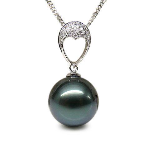 Pendentif coeur - Perle Tahiti bleue - Or blanc, diamants micro griffes