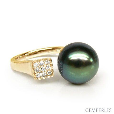 Anello Leewin - Oro Giallo, Diamanti e Perla di Tahiti
