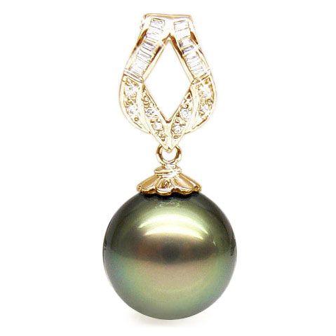 Pendentif ruban or jaune - Perle de Tahiti bronze - Diamants