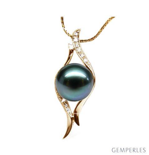 Ciondolo Grenade - Oro Giallo, Diamanti e Perla di Tahiti