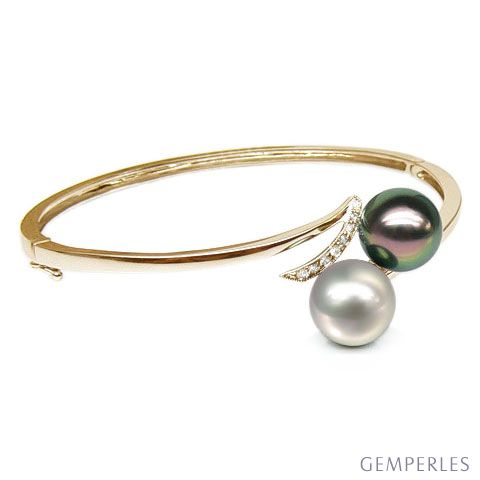 Bracelet or jaune, diamants - Perles mers sud multicolores - You & Me