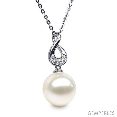 Pendentif twist or blanc - Perle de culture d'eau douce, diamants