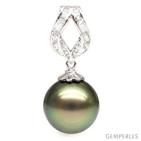 Ciondolo Salitis - Oro Bianco, Diamanti e Perla di Tahiti