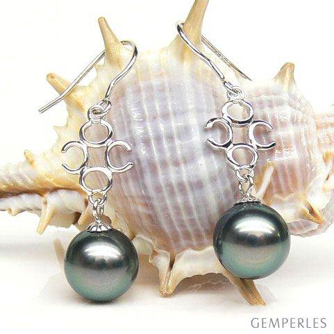 Orecchini Gancio Lesbos - Perle di Tahiti e Oro Bianco