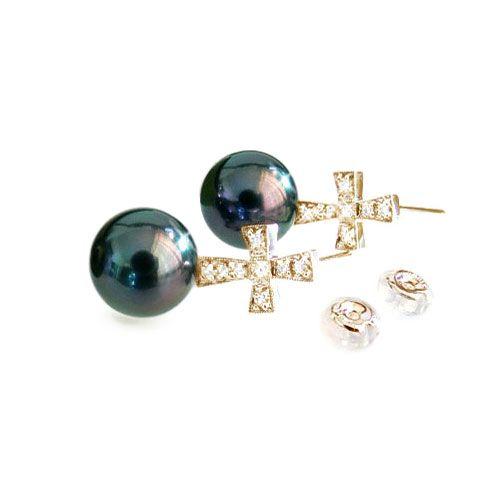 Boucles d'oreilles croix - Perles de culture - Tahiti - Or jaune - Diamants