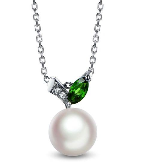 Pendentif perle Akoya. Or blanc, diamants et Péridot