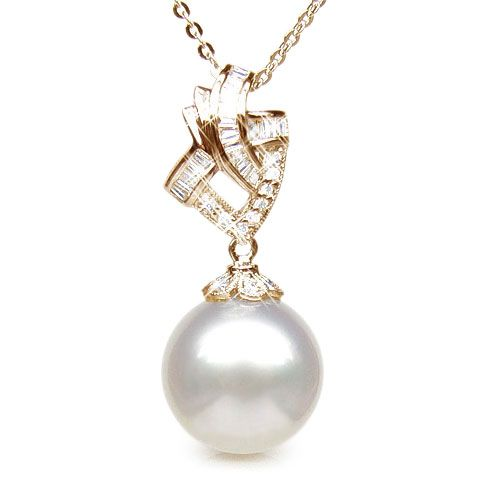 Création de pendentif - Perle d'Australie - Or jaune, diamants